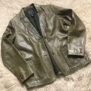 Gap Women's Olive Green Leather Jacket Sz Medium